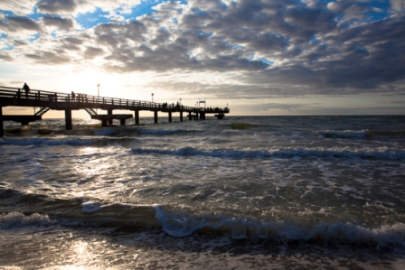 Baltic Sea with the Reric pier at dawn