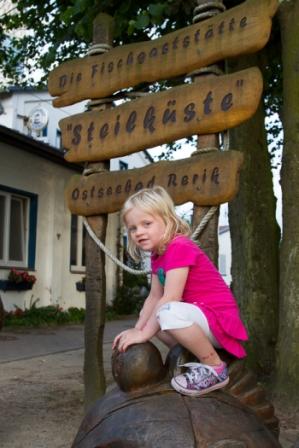 in front of the Steilkueste restaurant in Rerik